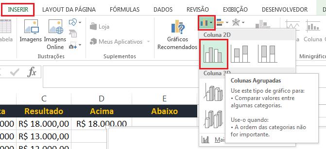 gráfico com mudança de cor no Excel
