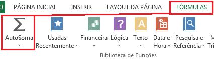 icone de AutoSoma no Excel