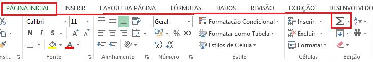 AutoSoma no Excel botão