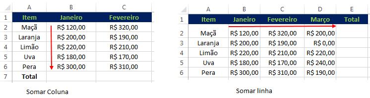 AutoSoma no Excel para linhas e colunas