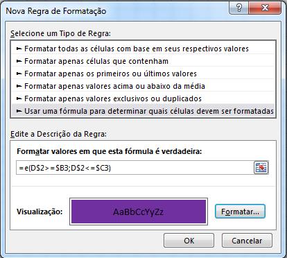 Formatação Condicional para gráfico de gantt