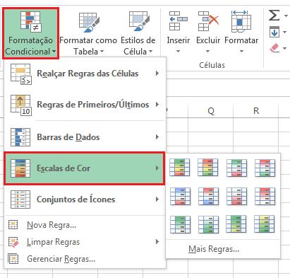 Escalas de cor no Excel - formatação condicional