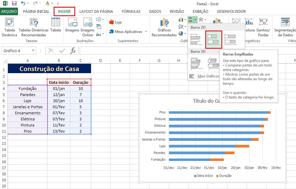 Gráfico de Gantt no Excel com gráfico de barras