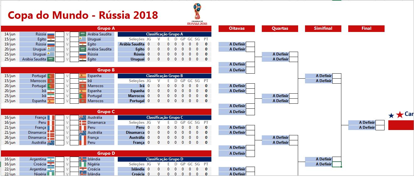 Tabela da Copa do Mundo 2018 em Excel