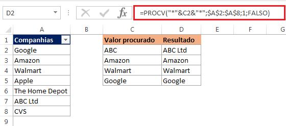 Como usar procv com caracteres curinga no Excel