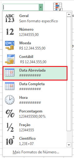 Data abreviada - erro ##### no Excel