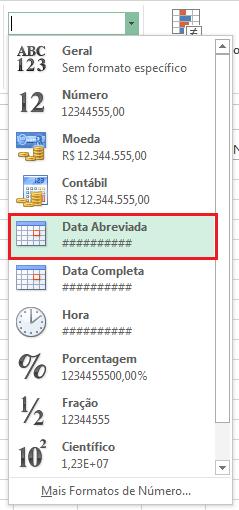 Data abreviada - erro ##### no Excel