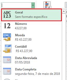 formato geral no Excel