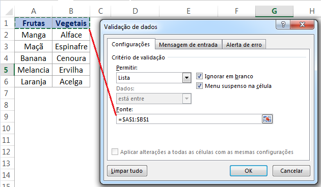 Lista suspensa dependente no Excel