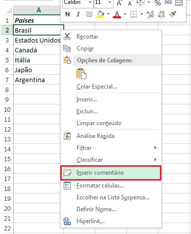 colocar imagens em comentários do Excel