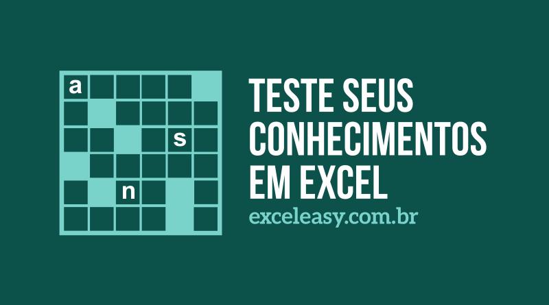 Teste seus conhecimentos em Excel - Palavras Cruzadas