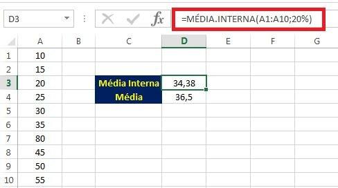 MÉDIA.INTERNA como calcular a média no Excel