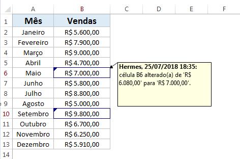 Moderar alterações no Excel