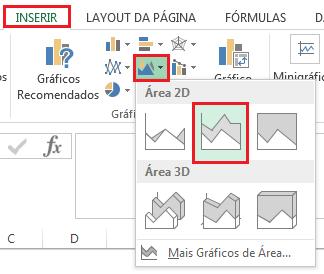 Inserir gráfico de área empilhada