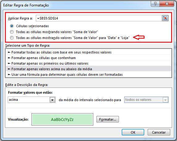 Editar Formatação condicional em Tabela dinâmica