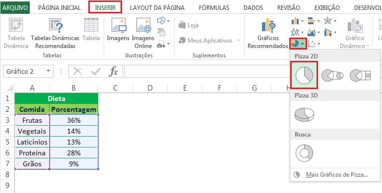 Como criar um gráfico de pizza no Excel