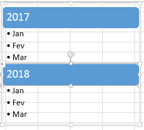 Marcadores no Excel usando SmartArt