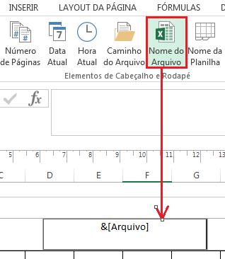 Inserir nome do arquivo em rodapé no Excel