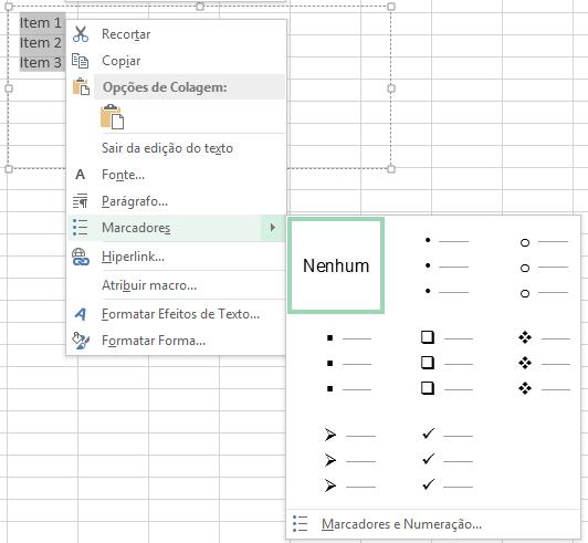 Caixa de texto no Excel com marcadores