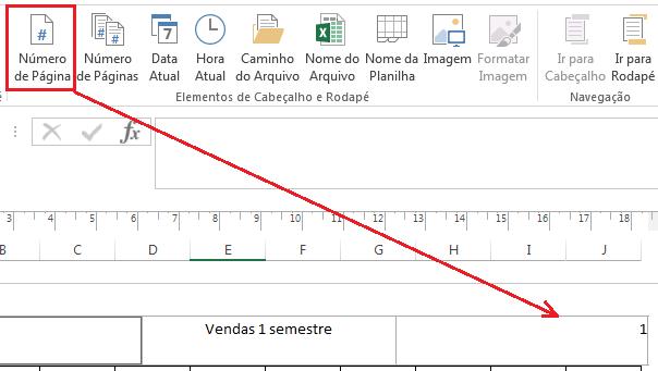 número de página no Excel