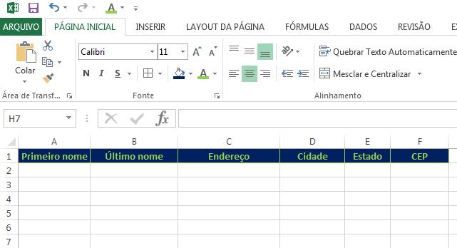 Criar etiquetas no Excel