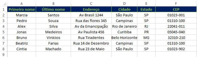 lista de endereços - etiquetas no Excel