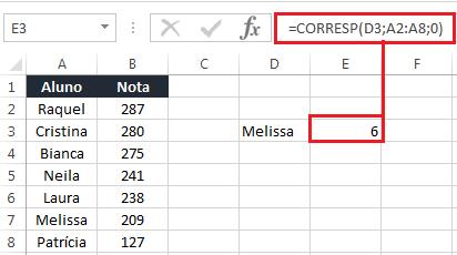 Função CORRESP no Excel