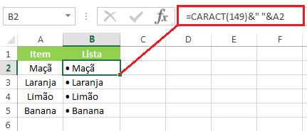 Função caract concatenar marcadores
