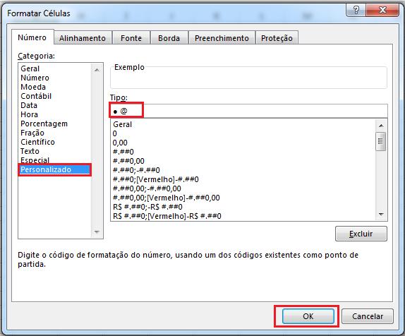 Marcadores no Excel com formato personalizado