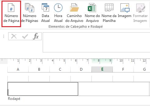 Número de página em Cabeçalho e rodapé no Excel