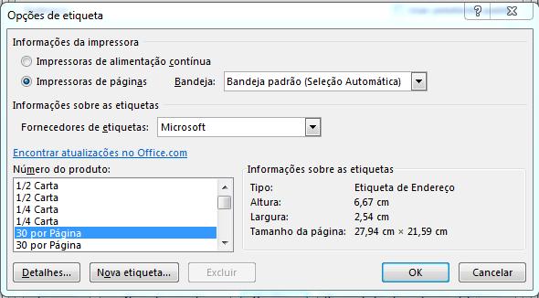 Configurar etiquetas no Excel