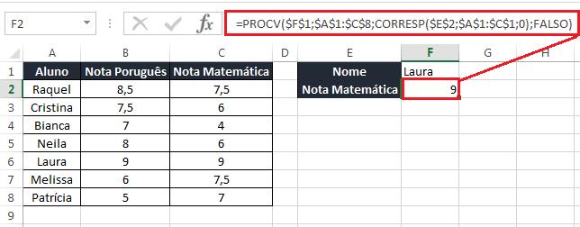 PROCV com CORRESP no Excel