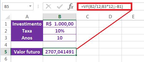 Juros Compostos no Excel com a função VF