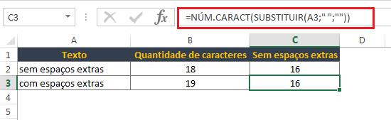 Contar caracteres no Excel excluindo todos os espaços