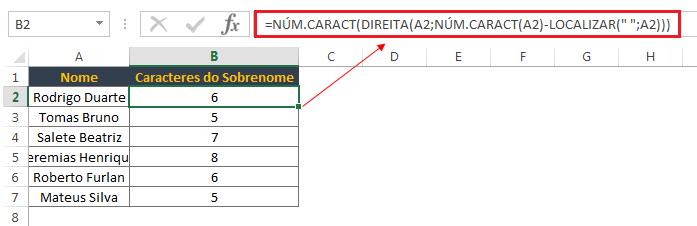 contando caracteres no Excel