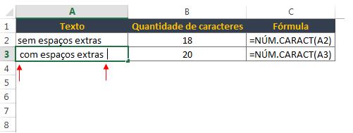 contar caracteres no Excel excluindo os espaços iniciais e finais