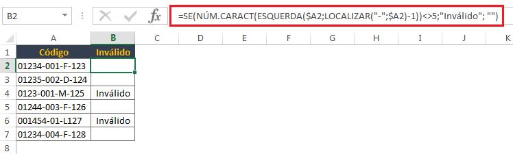 contagem de caracteres no Excel