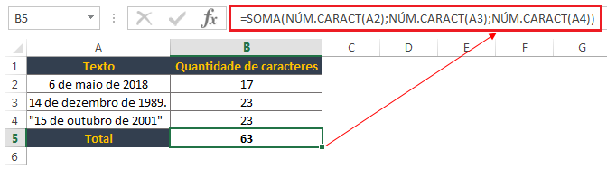 Contar um número total de caracteres em várias células