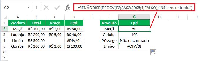 Função SEERRO eSENÃODISP - diferença