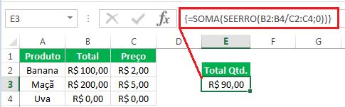 fórmula de matriz com SEERRO