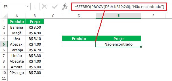 Como usar a função SEERRO com PROCV no Excel
