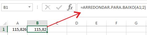 Como Arredondar para baixo no Excel