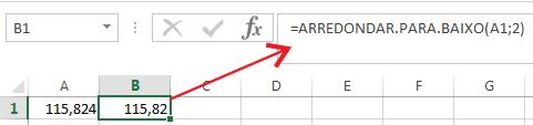 Como arredondar número para baixo no Excel
