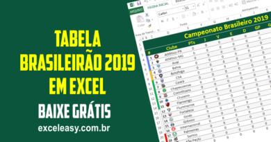 Tabela do Campeonato Brasileiro 2019 em Excel Grátis