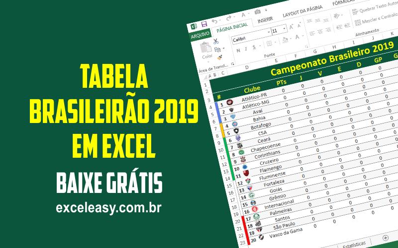 Tabela Do Campeonato Brasileiro 2019 Em Excel Excel Easy