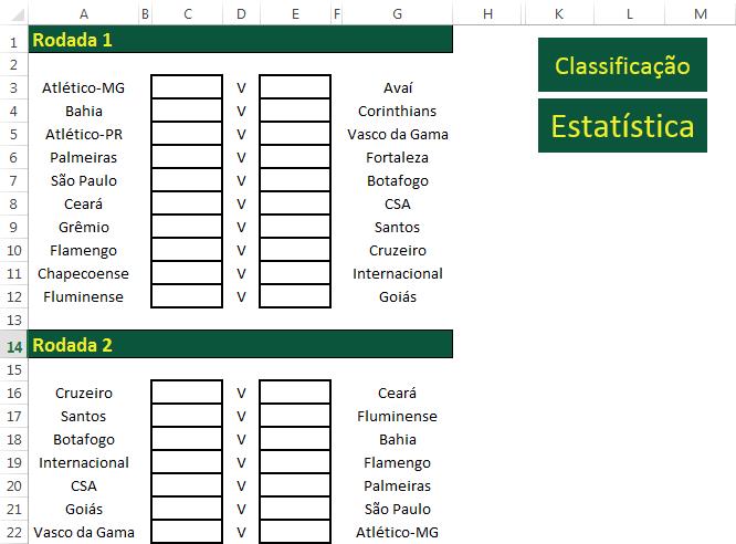 Planilha Campeonato Brasileiro 2019 em Excel