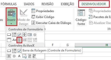 Inserindo Barra de Rolagem no Excel