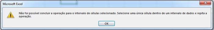 erro formulário Excel
