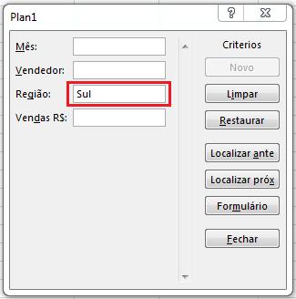 Busca por critérios em formulário no Excel