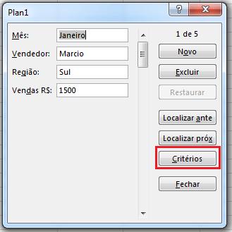 Formulário de dados no Excel